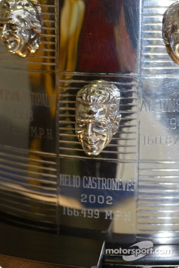 Helio Castroneves on Borg-Warner Trophy
