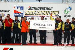Race winner Scott Sharp celebrates with the Kelley Racing crew