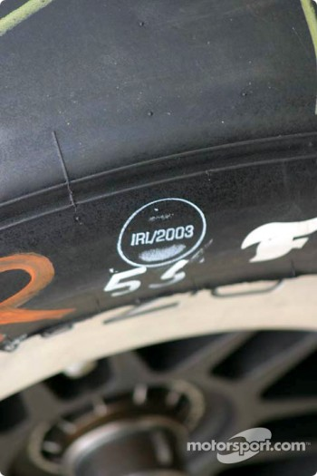 IRL tire stamp