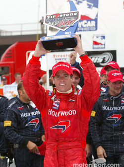 Victory lane: race winner Alex Barron celebrates