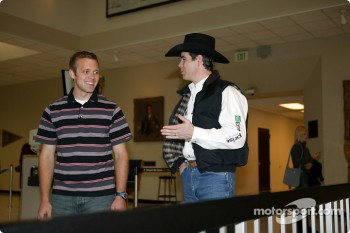 Ed Carpenter enjoys showing bull-riding superstar Michael Gaffney around the Speedway Hall of Fame Museum