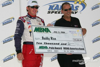 Buddy Rice accepts MBNA pole check