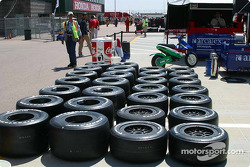 Practice tires are laid out for Dario Franchitti