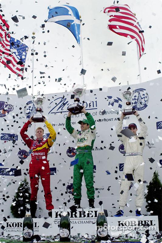 The podium: Memo Gidley, Dario Franchitti and Bryan Herta