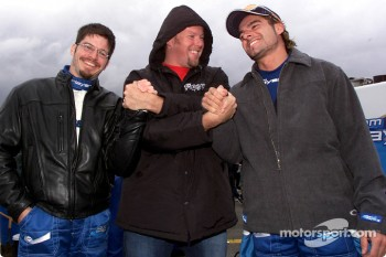 Patrick Carpentier, Paul Tracy and Alex Tagliani having fun during a rain delay