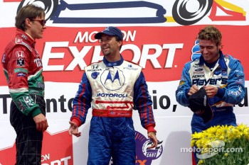 The podium: Adrian Fernandez, Michael Andretti and Alex Tagliani