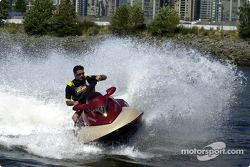 Team Player's driver Alex Tagliani took some time off to do a Sea-Doo ride on the waters of False Creek in Vancouver