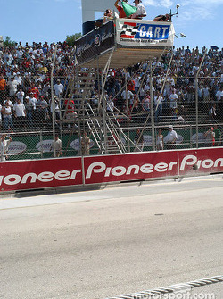 Juan Pablo Montoya gives the green flag