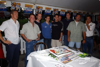 Rodolfo Lavin celebrates birthday with Walker Racing team members