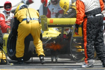 Pitstop for A.J. Allmendinger: flaming exhaust