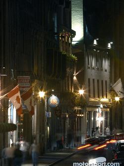 Montréal nightlights: a street in  Old Montréal