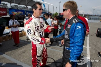 IndyCar two-seater experience: Davey Hamilton with Ontario Minister of Tourism and Culture Michael Chan