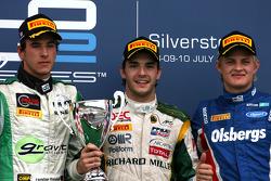 Podium: race winner Jules Bianchi, Lotus ART, second place Christian Vietoris, Racing Engineering, third place Marcus Ericsson, iSport International