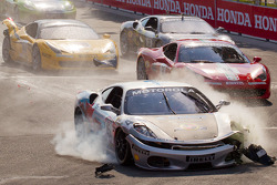 Start: #454 Ferrari of Ft. Lauderdale Ferrari F430 Challenge: Rob Metka crashes