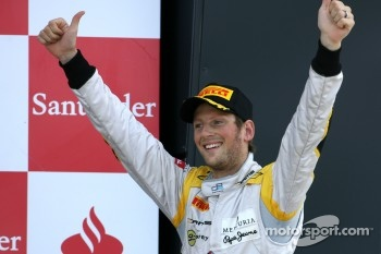 Podium: race winner Romain Grosjean, Dams