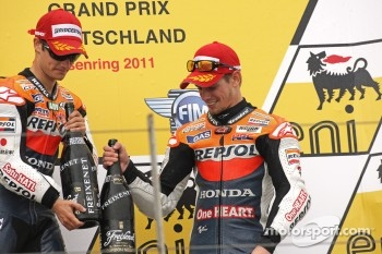 Podium: race winner Dani Pedrosa, Repsol Honda Team, third place Casey Stoner, Repsol Honda Team
