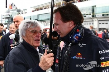 Bernie Ecclestone with Christian Horner, Red Bull Racing, Sporting Director
