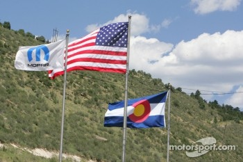 Flags fly over Bandimere Speedway, Morrison, Colorado