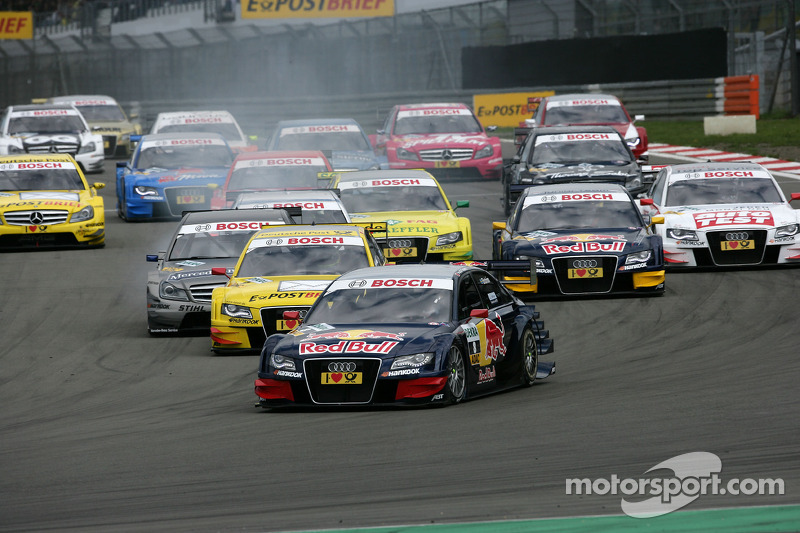 Start of the Race, Mattias Ekström, Audi Sport Team Abt Audi A4 DTM lead the field