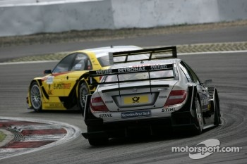 Bruno Spengler, Team HWA AMG Mercedes C-Klasse and Mike Rockenfeller, Audi Sport Team Abt Audi A4 DTM