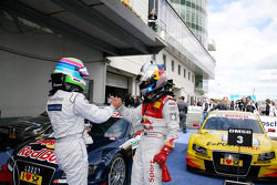 Race winner Mattias Ekström, Audi Sport Team Abt, second place Bruno Spengler, Team HWA AMG Mercedes