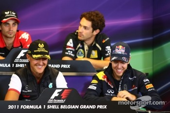Michael Schumacher, Mercedes GP F1 Team and Sebastian Vettel, Red Bull Racing