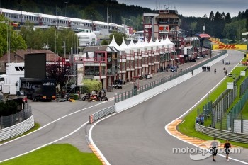 View of the GP2 pitlane from Eau Rouge corner