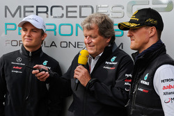 Nico Rosberg, Mercedes GP, Norbert Haug, Mercedes, Motorsport chief and Michael Schumacher, Mercedes GP