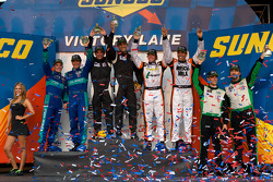 Class winners podium: GT winners Wolf Henzler and Bryan Sellers, LMP1 and overall winners Humaid Al Masaood and Steven Kane, LMPC winners Kyle Marcelli and Tomy Drissi, GTC winners Tim Pappas and Jeroen Bleekemolen