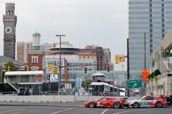 #45 Flying Lizard Motorsports Porsche 911 GT3 RSR: Jorg Bergmeister, Patrick Long, #62 Risi Competizione Ferrari F458 Italia: Jaime Melo, Toni Vilander