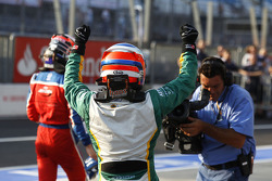Valtteri Bottas celebrates winning the race and the drivers championship in parc ferme