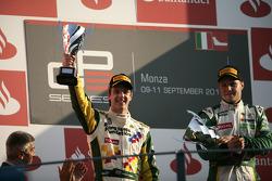 James Calado celebrates on the podium with Valtteri Bottas