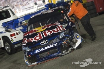 Car of Kasey Kahne, Red Bull Racing Team Toyota back in the garage
