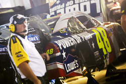 Car of Jimmie Johnson, Hendrick Motorsports Chevrolet in the garage with damage
