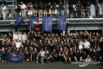 Sebastian Vettel, Red Bull Racing celebrates his win with the team