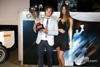 Luca Filippi collects his trophy for 2nd in the GP2 drivers championship