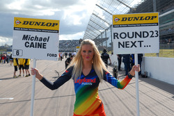 Airwaves Racing grid girl to Michael Caine