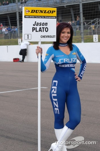 Caroline Hall, grid girl to Jason Plato