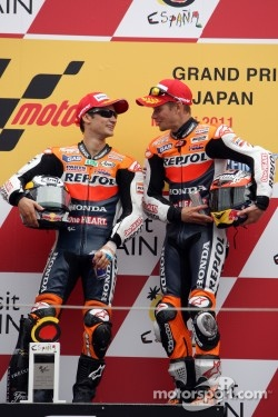 Podium: race winner Dani Pedrosa, third place Casey Stoner