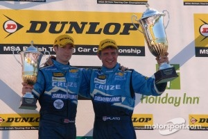 Chevrolet Duo Jason Plato and Alex MacDowall on the podium