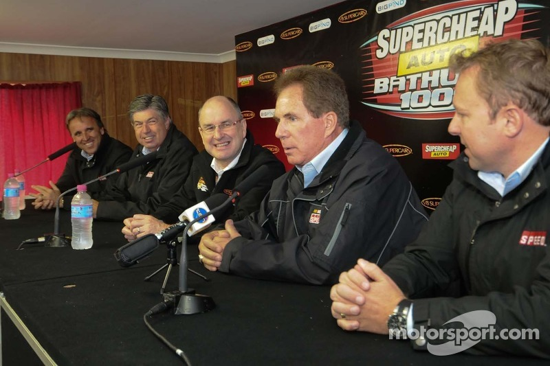 Darrell Waltrip and the SPEED crew during a news conference