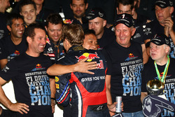 Sebastian Vettel, Red Bull Racing new world champion celebrates with the team