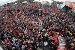 The crowd below the podium