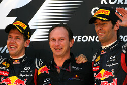 Podium: race winner Sebastian Vettel, Red Bull Racing, Christian Horner, Red Bull Racing, Sporting Director and third place Mark Webber, Red Bull Racing