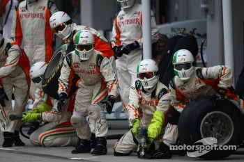 Force India awaiting a  pit stop
