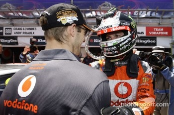 Jamie Whincup and Sébastien Bourdais celebrate pole
