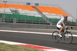 Jarno Trulli, Team Lotus bikes the track
