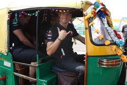 Jenson Button, McLaren Mercedes in a Rickshaw