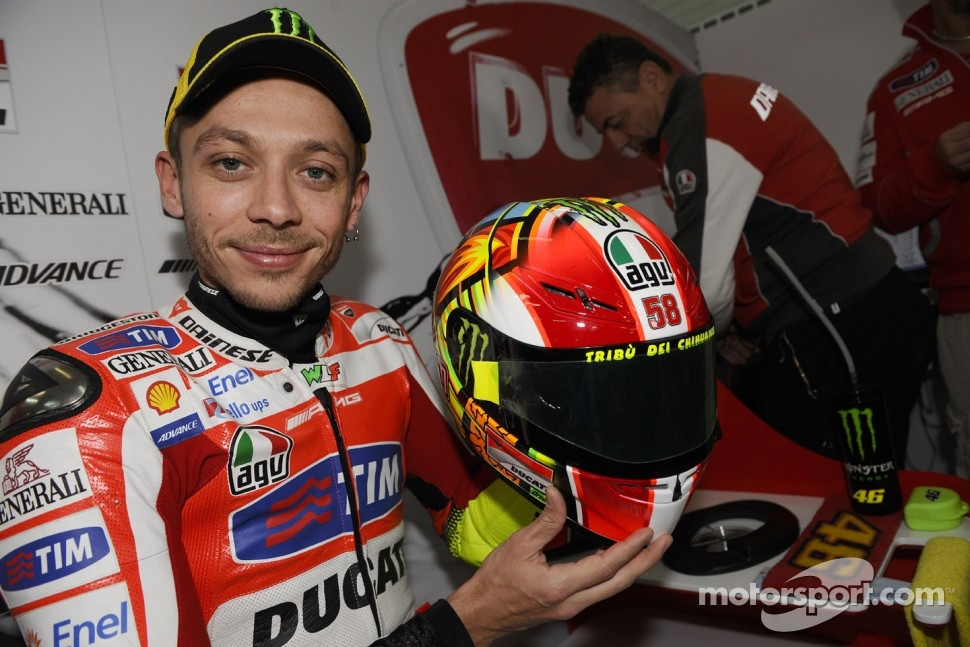 Valentino Rossi, Ducati Marlboro Team displays special helmet design in tribute to his friend Marco Simoncelli