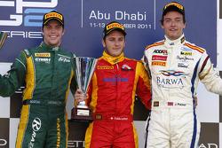 Podium: race winner Fabio Leimer, second place Luiz Razia, third place Jolyon Palmer